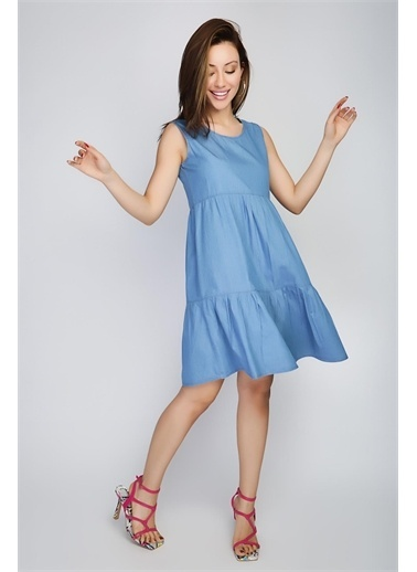 Rodi Jeans Kadın Katlı Kolsuz Denim Elbise Ds21Yb112209 Mavi